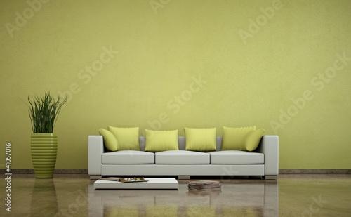 Wohndesign - Sofa vor grüner Wand