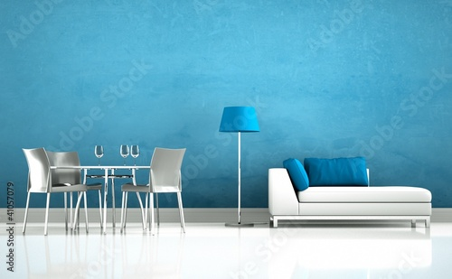 Wohndesign - Sofa mit Esstisch blau