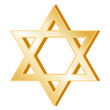 Judaism Symbol, gold Star of David, icon of the Jewish faith