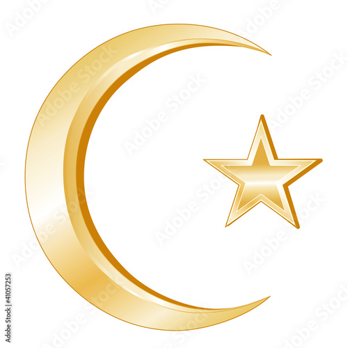 Islam Symbol, gold Crescent and Star, icons of Islamic faith