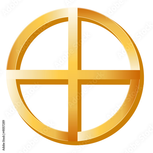 Native Spirituality Symbol, gold Medicine Wheel icon