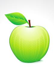 abstract green apple with leaf