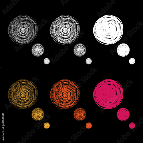 Colorful hand drawn thought bubbles, vector illustration
