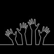 white line of hands, abstract vector illustration for design.
