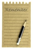"Handwriting "" Remember "" on a natural note paper and pencil"