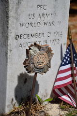 World War II Veteran Gravestone and VFW Marker