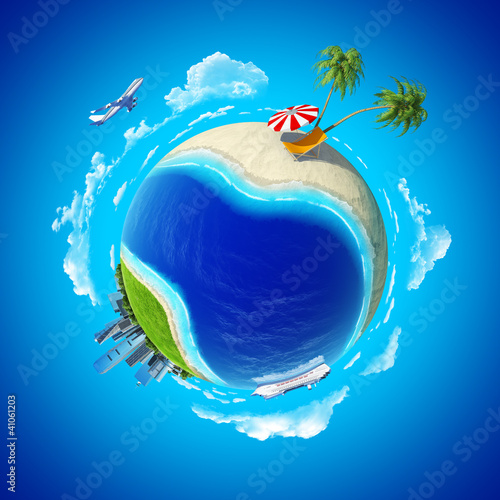 Mini planet concept. City center and tropical beach. Series.