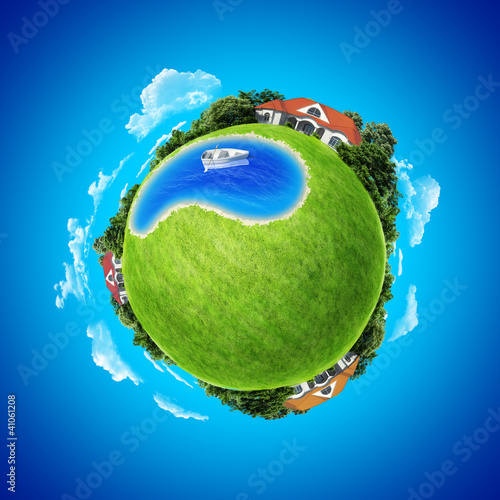 Mini planet concept. Three villages and pond. Series.