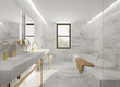 Minimal elegant luxury bathroom, gold white marble