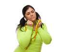 Frustrated Hispanic Woman with Tape Measure