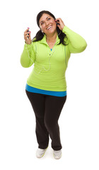 Hispanic Woman In Workout Clothes with Music Player and Headphon