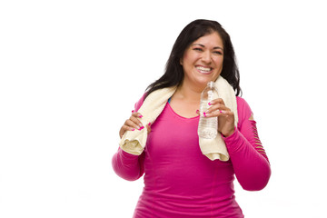 Hispanic Woman In Workout Clothes with Water and Towel