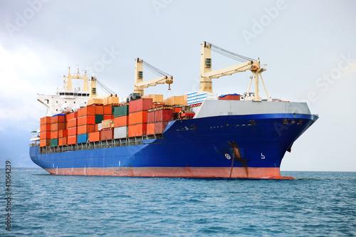 Leinwanddruck Bild cargo container ship