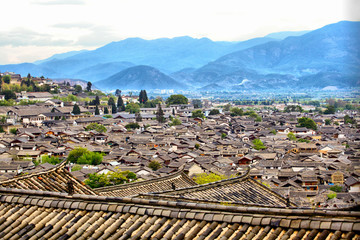 Top view at the old town of Lijiang