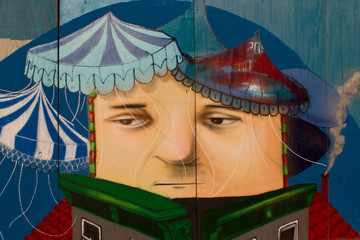 Street art on the wall in Brooklyn