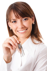 Woman or real estate agent showing keys, on white