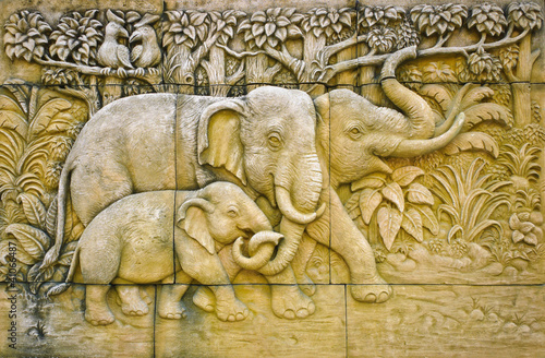 Stucco of elephant family