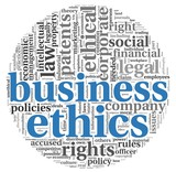 Business ethics concept in tag cloud poster