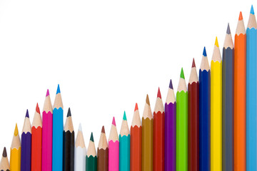 Business graph illustrating growth made up of colored pencils