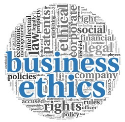 Business ethics concept in tag cloud