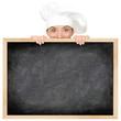 Chef showing restaurant menu
