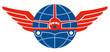 Постер, плакат: Jumbo Jet Plane Front Wings Globe