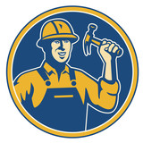 Construction Worker Carpenter Tradesman With Hammer poster