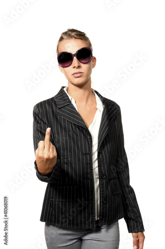 businesswoman showing middle finger