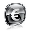 Euro icon black glass, isolated on white background