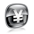 Yen icon black glass, isolated on white background