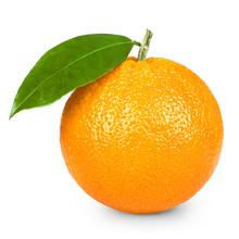 """Постер, картина, фотообои """"Ripe orange isolated on white background"""""""