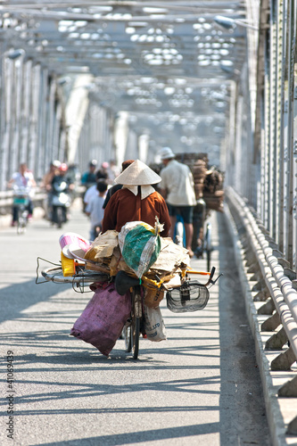 Busy traffic on a bridge, hanoi, Vietnam.