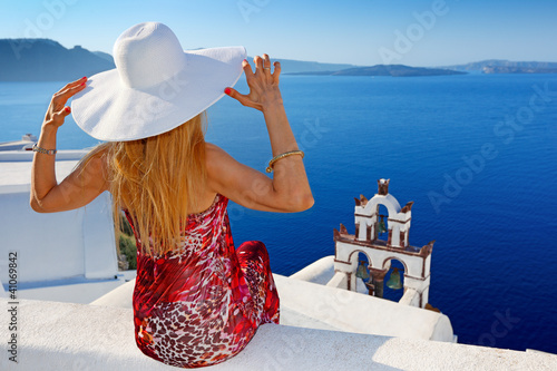 Woman in Santorini
