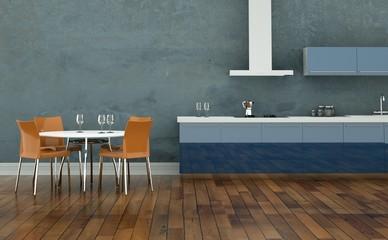 Wohndesign - Wohnküche blau