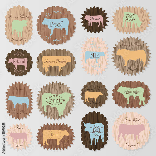 Farm animals market egg and meat labels food vector