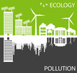 Green ecology city against pollution vector concept
