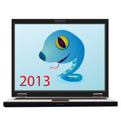 Blue snake on the screen of notebook a symbol of New Year 2013