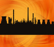 Oil refinery station background illustration