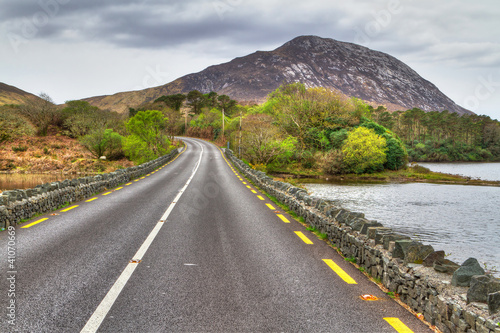 Irish road with mountain view