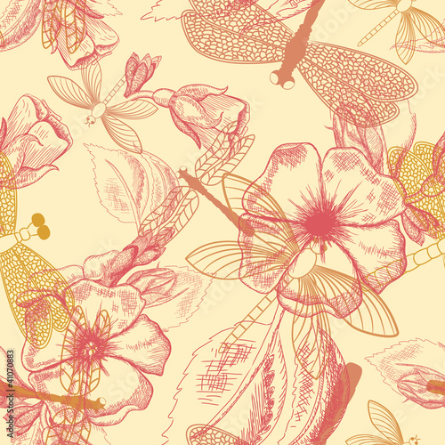 Tuinposter Abstract bloemen Flower seamless pattern with dragonflies