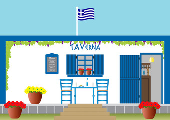 Traditional Greek Taverna with Flag Vines and Flowers