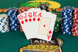 Royal flush cards with chips