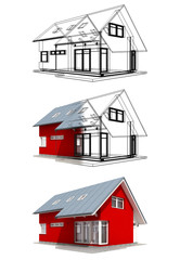 Semitransparent red house with black outlines