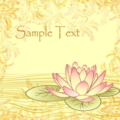 Vintage grunge paper background with lotus flower
