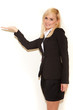 Smiling blonde professional saleswoman