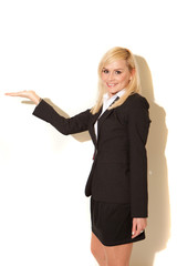 Smiling blonde professional saleswoman