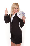 Ecstatic woman with a fistful of money