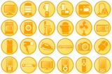 Household appliances. Round orange icons poster