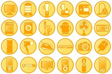 Household appliances. Round orange icons
