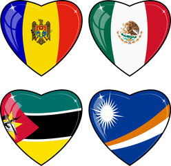 Set of vector images of hearts with the flags